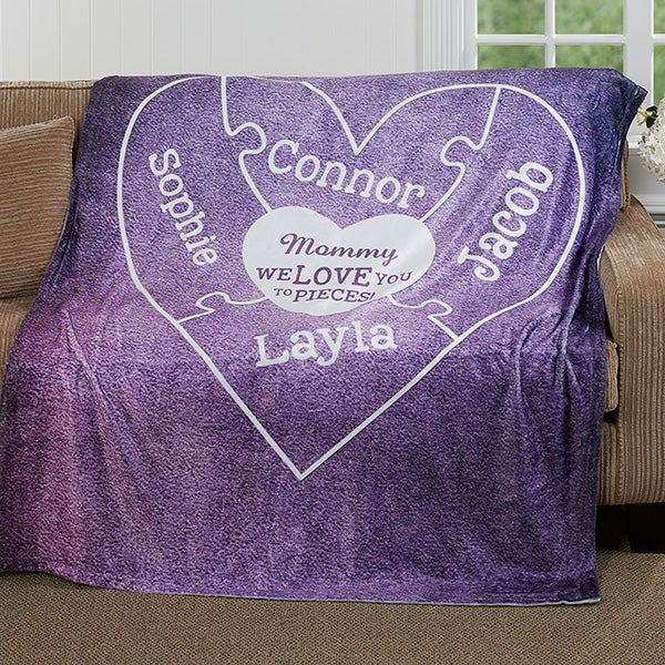 Personalized Puzzle Heart Blankets - We Love You To Pieces - 16912