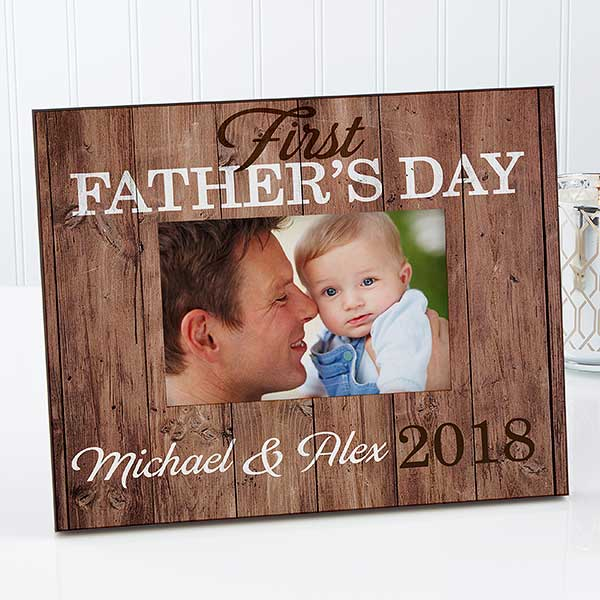 Personalized Rustic Picture Frame - First Father's Day - 16917