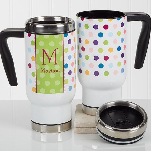 Personalized Commuter Travel Mug - Polka Dot - 16975