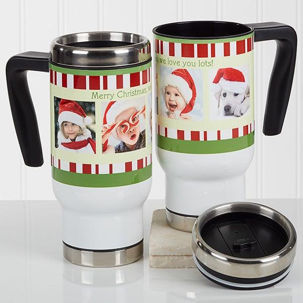 Personalized Christmas Photo Commuter Travel Mug - Christmas Photo Message - 16976