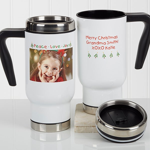 Personalized Christmas Photo Commuter Travel Mug - Christmas Photo Wishes - 16977