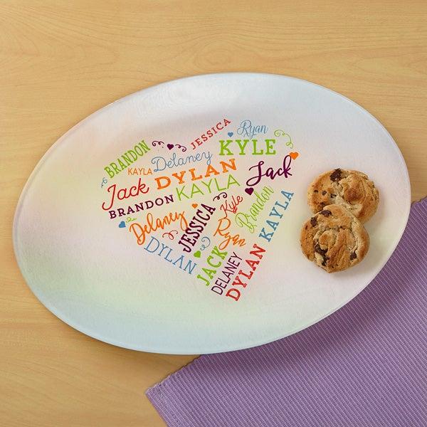 Custom Heart Glass Platter