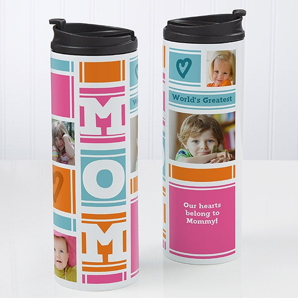 Personalized 16oz. Travel Tumbler - Mom Photo Collage - 17013