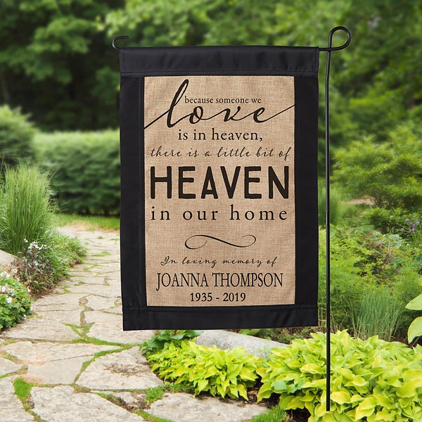 Heaven In Our Home Personalized Burlap Garden Flag