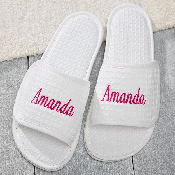 Embroidered White Waffle Weave Spa Slippers - 17026