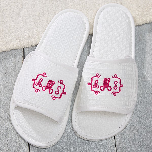 e04684a4df7b41 Embroidered White Waffle Weave Spa Slippers