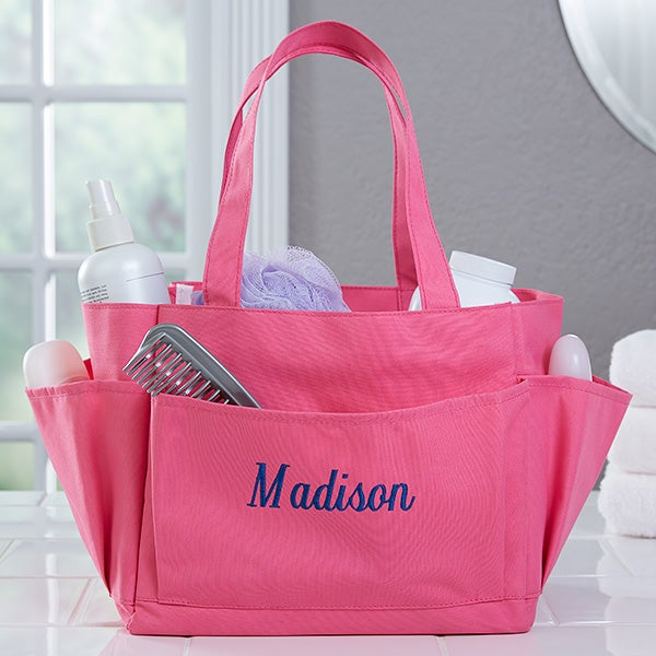 Pink Perfection Embroidered Shower Caddy