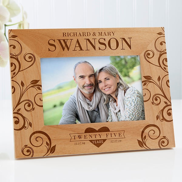 Personalized Anniversary Wood Frame - Celebrating Their Love - 17076