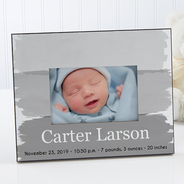 Personalized Watercolor Baby Boy Picture Frame - Bundle Of Joy - 17078