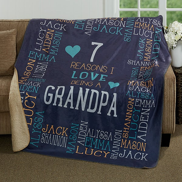 Personalized Premium Sherpa Blanket - Reasons Why For Him - 17084