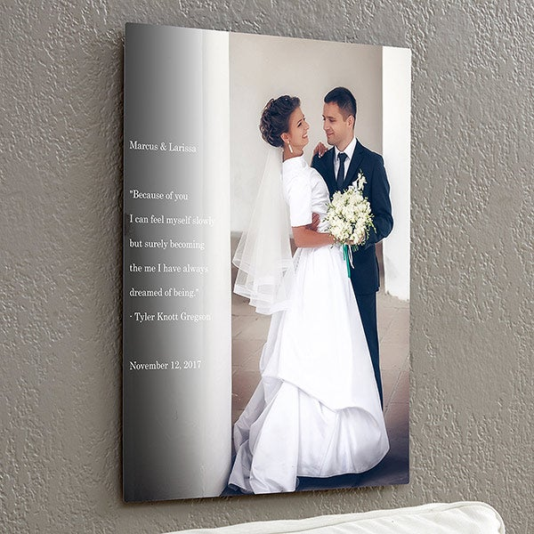 Personalized Chromoluxe Photo Metal Panels - Personalized Wedding Sentiments - 17093