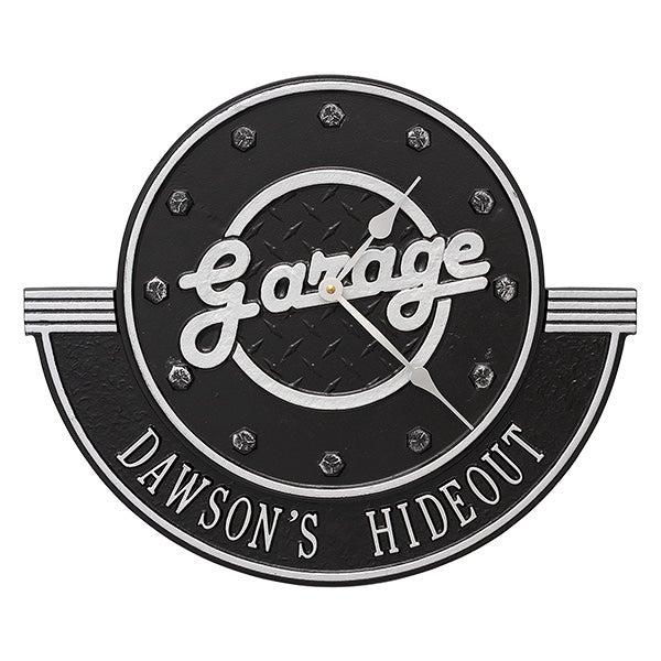 Personalized Aluminum Garage Clock - His Garge - 17104