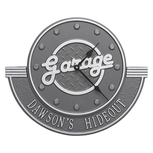 Personalized Aluminum Garage Clock - His Garge - 17104
