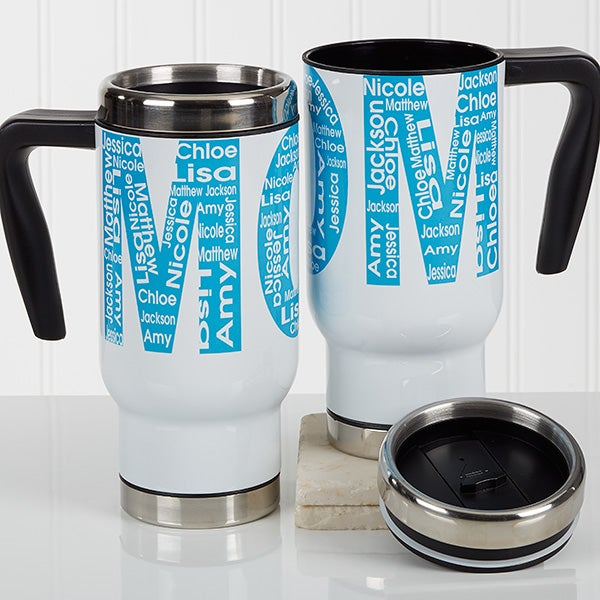 Personalized Mom Commuter Mug - Repeating Name For Her - 17136