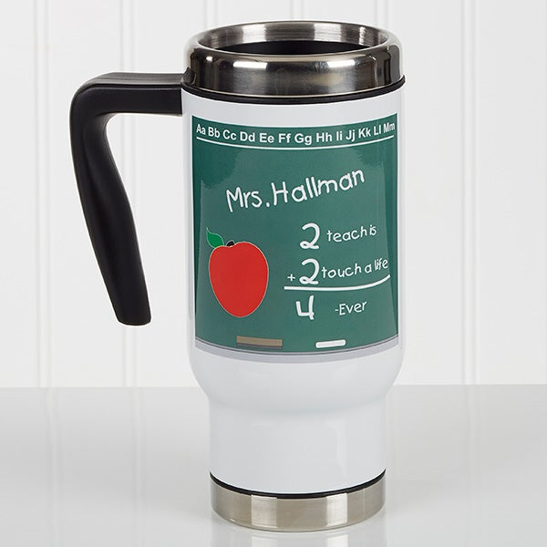 Personalized Commuter Travel Mug - Chalkboard Teacher - 17139