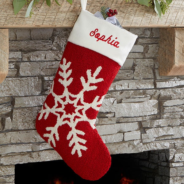 76b7c32519e Personalized Hooked Crochet Christmas Stocking - Snowflake ...