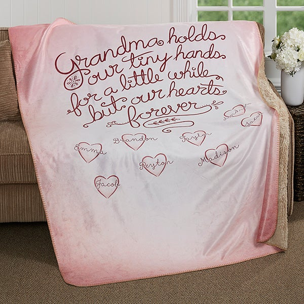 Personalized Premium Sherpa Blanket - Grandchildren Fill Our Hearts - 17149