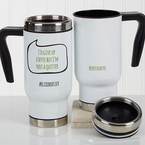 Personalized Hashtag Travel Mugs - 17161