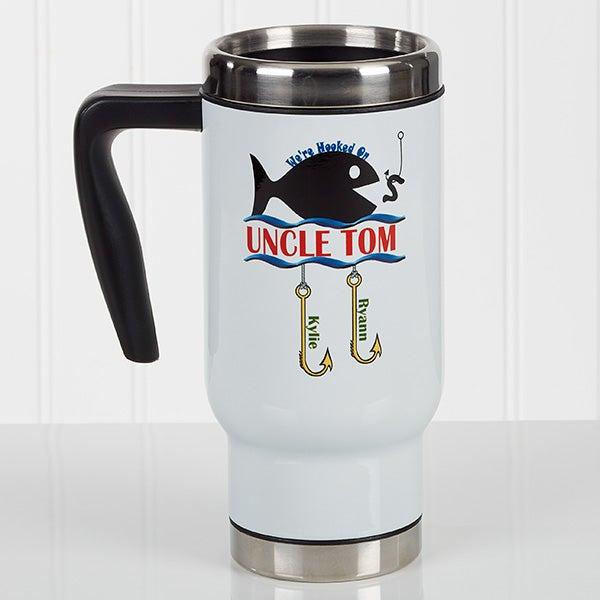 Personalized Fishing Commuter Travel Mug - Hooked On You - 17165