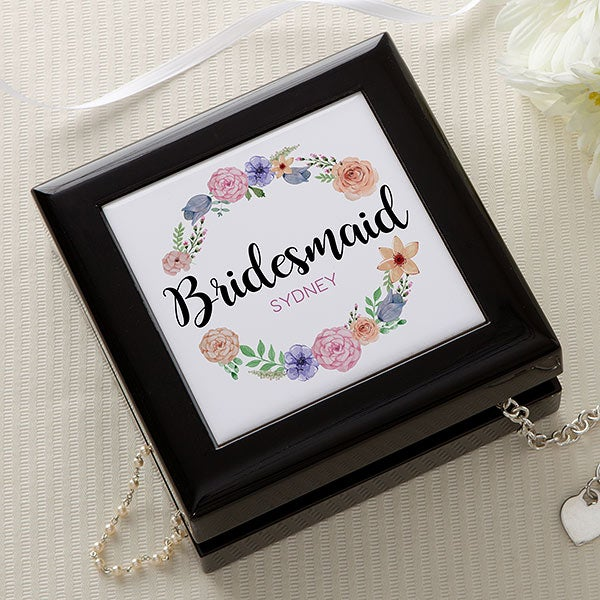 Personalized Bridesmaid Jewelry Box - Floral Wreath - 17224