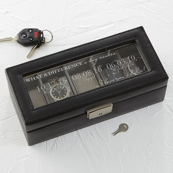 Personalized Leather Watch Box - Special Dates - 17233