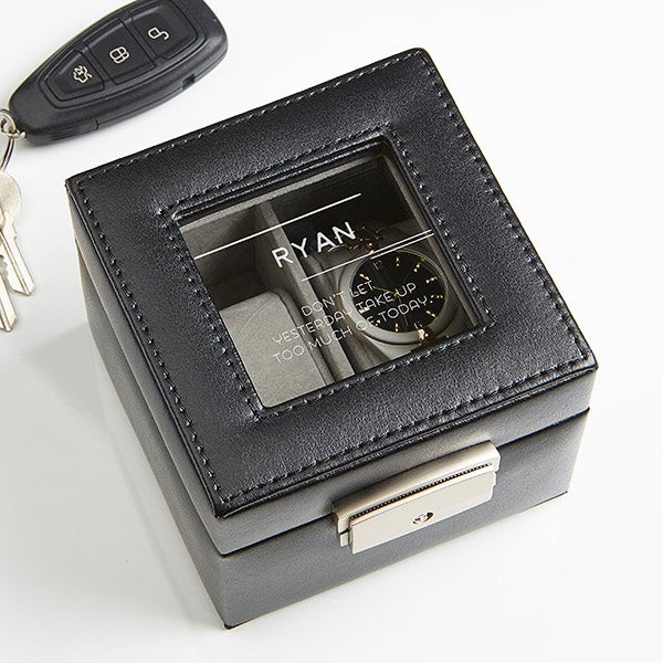 Personalized Leather 2 Slot Watch Box - 10 Quotes - 17236