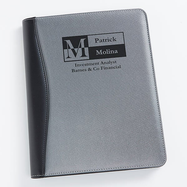 Sophisticated Silver & Black Personalized Portfolio - 17251