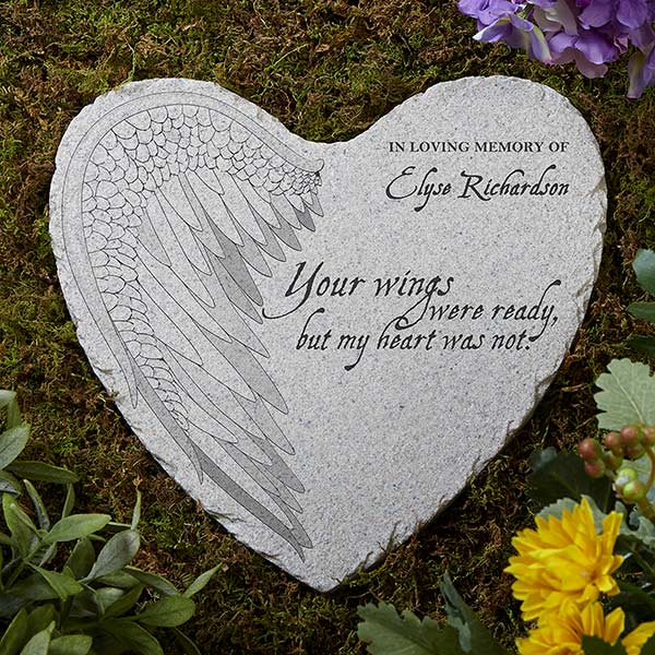 Personalized Memorial Heart Garden Stone - Your Wings - 17271