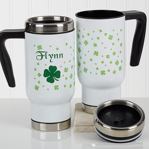 Personalized St. Patrick's Day Commuter Travel Mug - Irish Clover - 17280