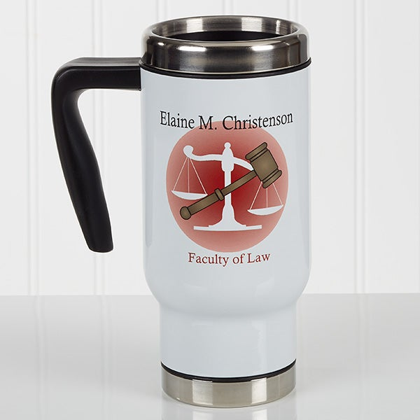 Personalized Lawyer Commuter Travel Mug - Coffee & Counsel - 17284