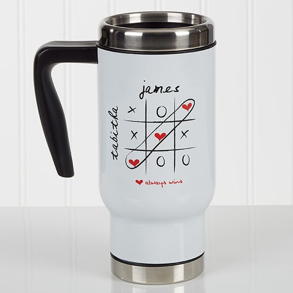 Personalized Romantic Commuter Travel Mug - Love Always Wins! - 17293