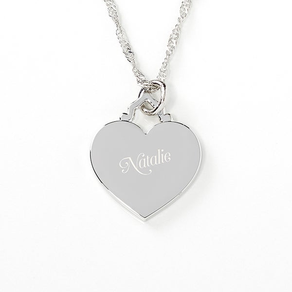 Engraved Heart Necklace - Her Loving Heart - 17301