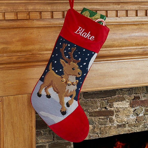 Santa Personalized Needlepoint Stocking