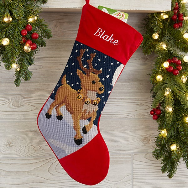Personalized Needlepoint Christmas Stockings Reindeer Christmas Clearance