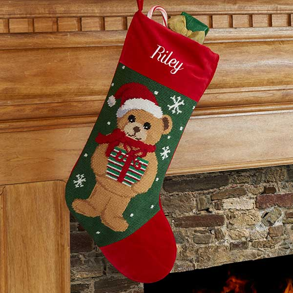 Personalized Needlepoint Christmas Stockings Teddy Bear