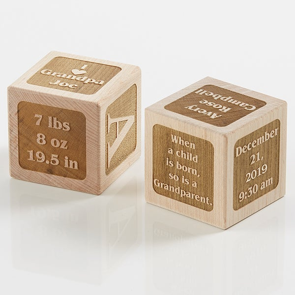 Personalized Wood Baby Block - A Grandparent Is Born - 17328D