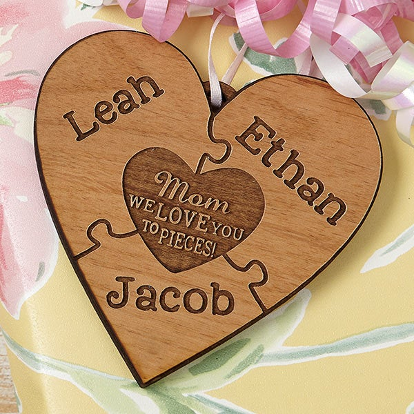 We Love Her To Pieces Natural Wood Gift Topper