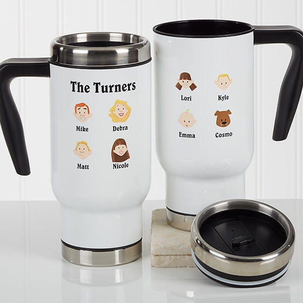 Personalized Travel Mug - Family Characters - 17346