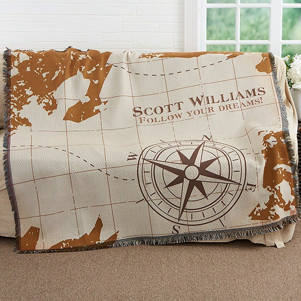 Personalized Graduation Woven Throw Blanket - Compass Inspired - 17383