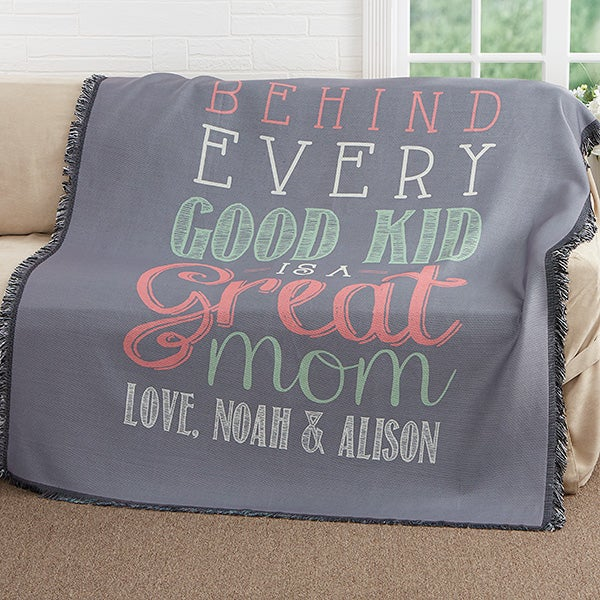Personalized Mom Woven Throw - Loving Words To Her - 17391