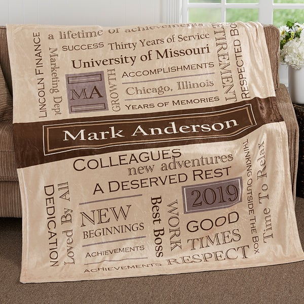 Personalized Retirement Blankets - Retirement Gifts - 17405