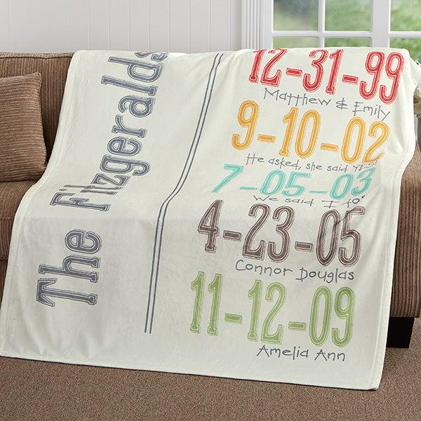 Personalized Milestone Dates Fleece Blanket - 17416