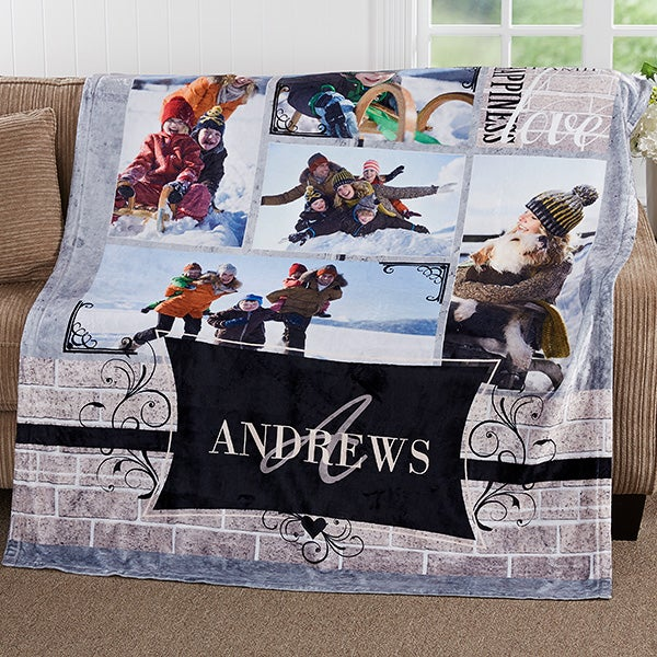 Personalized Family Photo Collage Fleece Blanket - 17419