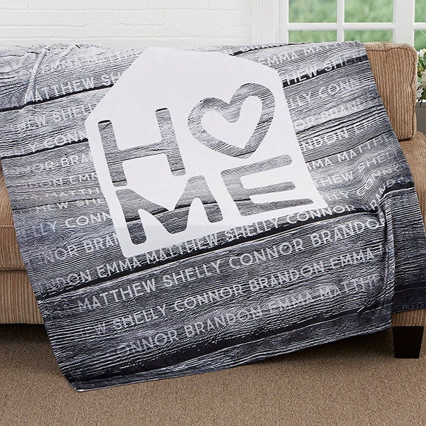 Home Is Love Personalized Family Blankets - 17420