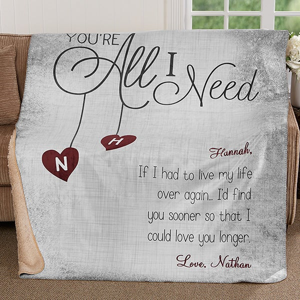 Personalized Romantic Premium Sherpa Blanket - You're All I Need - 17426