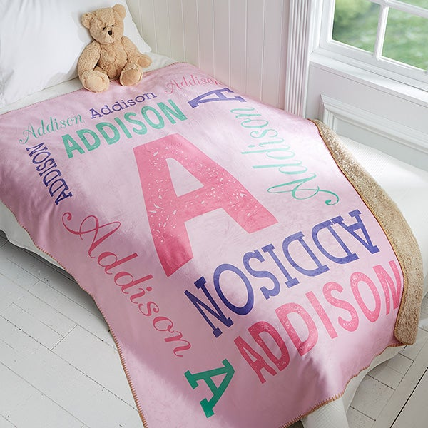 Personalized Kids Premium Sherpa Blanket - Repeating Name - 17429