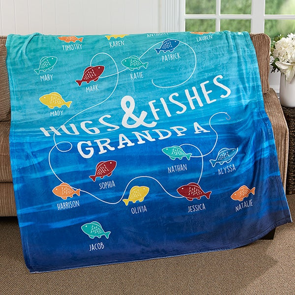 Personalized Fishing Blankets - Hugs & Fishes - 17434