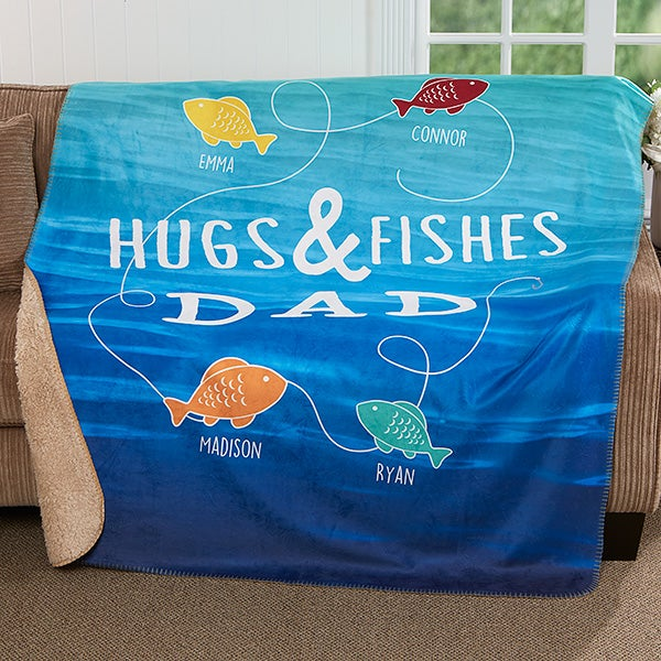 Personalized Premium Sherpa Blanket - Hugs & Fishes - 17435