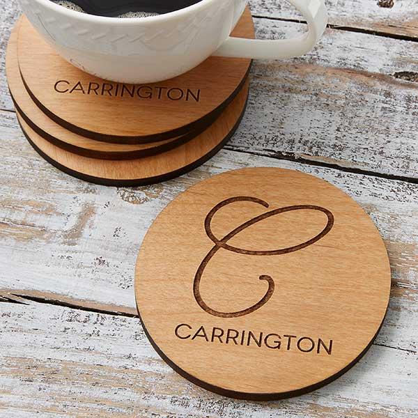 Wood Coasters - Custom Engraved Initial & Name - 17438