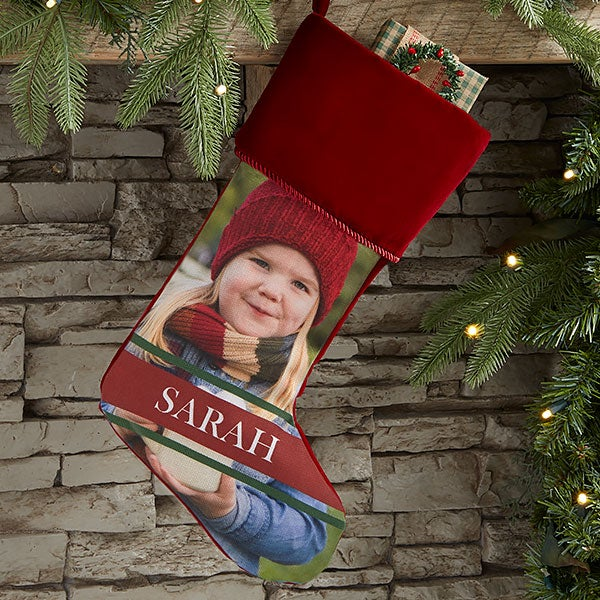 Personalized Photo Christmas Stocking - Holly Jolly Smile - 17452